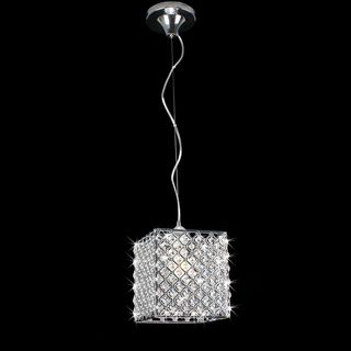 Chrome/ Crystal 1 light Mini Pendant Square Chandelier