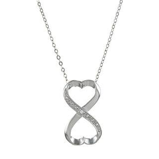 La Preciosa Sterling Silver Cubic Zirconia Heart Infinity Necklace