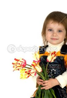 Cute little girl giving tulips  Stock Photo © Tetiana Vychegzhanina