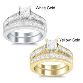 14k Gold 3ct TDW Princess cut Diamond Bridal Ring Set (H I, SI1 SI2