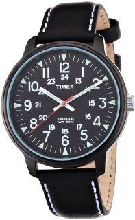 Timex Mens Black Dial INDIGLO Night Glow Big Dial Leather Watch T2N202