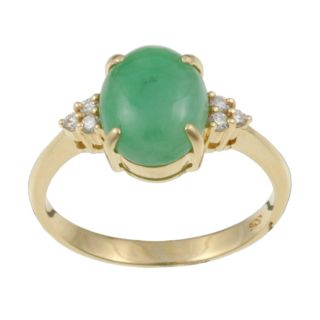 14k Yellow Gold Green Jade and 1/10ct TDW Diamond Ring (Size 6.5