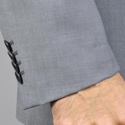 Enzo Tovare Mens Grey Sharkskin Slim Fit Wool Suit