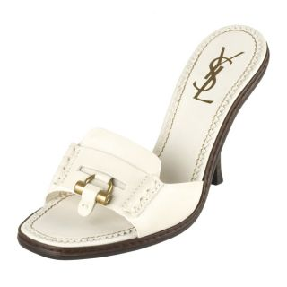 Yves Saint Laurent Ivory Leather Muse Slides