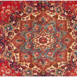 Persian Hand knotted Mashad Red/ Navy Wool Rug (97 x 127