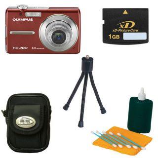 Olympus FE 280 8MP Digital Camera with Bonus Kit (Refurb)