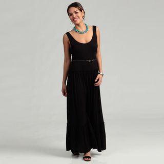 Calvin Klein Womens Black Double Scoop Belted Dress