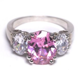 Sterling Silver Pink and Clear Cubic Zirconia Ring