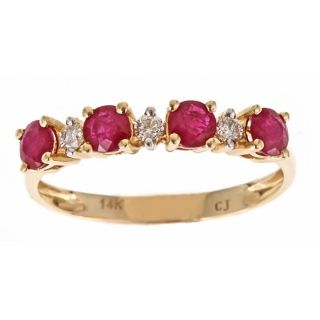 Yach 14k Yellow Gold Thai Ruby and 1/8ct TDW Diamond Ring (G H, I1