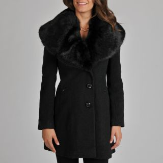 Ivanka Trump Womens Wool Blend Coat with Exaggerated Faux Fur Collar