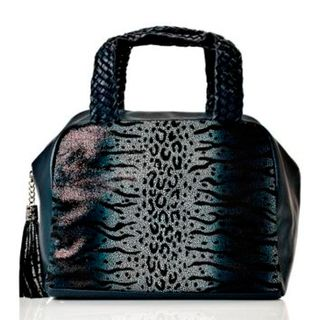 Vintage Reign Coco Navy Leather Animal Print Bowler Bag
