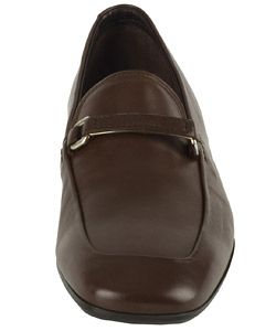 Prada Mens Brown Leather Logo Strap Loafers