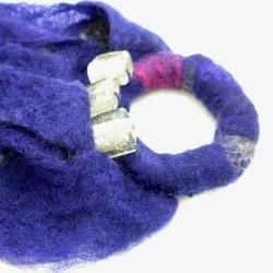 Merino Wool Purple Beaded Ring Felt Scarf (Chile)