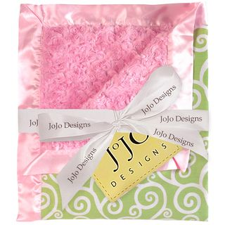 Sweet JoJo Designs Olivia Pink and Green Minky Swirl Baby Blanket