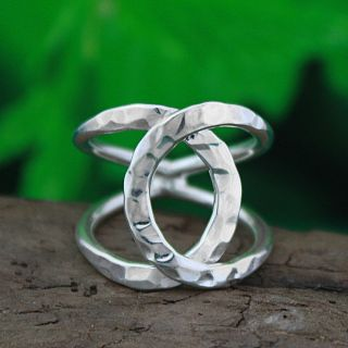 Sterling Silver Hammered Criss Cross Ring (Mexico)