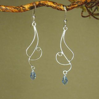 Jewelry by Dawn Long Curved Sterling Silver Earrings With Blue Crystal