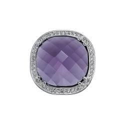 Silvertone Purple and White Crystal Dome Ring