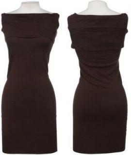 Cowl Neck Sweater Dress, Medium, Medium Bro (210), 2SRN602 Clothing