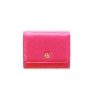 Korean Crown Wallet .K Donbook Purse, Cherry Hot Pink