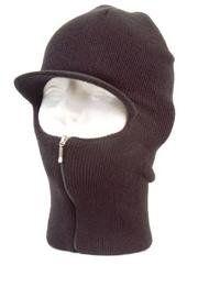Easy ZIP Down Knit SKI Visor Face Mask Zipper up Balaclava