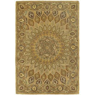 Handmade Heritage Medallion Light Brown/ Grey Wool Rug (3 x 5