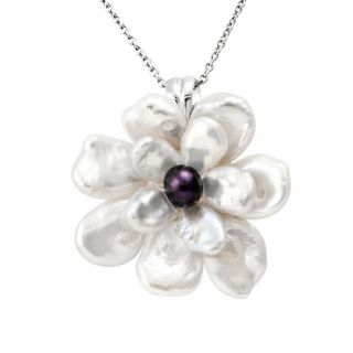 Sterling Silver White Keshi and Black Freshwater Pearl Flower Necklace