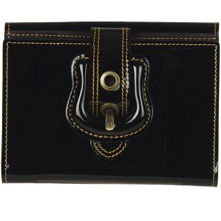 Fendi Vernice Black Patent Leather French Wallet