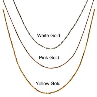 Fremada 10k Pink, White or Yellow Gold Box Chain (18 inch)