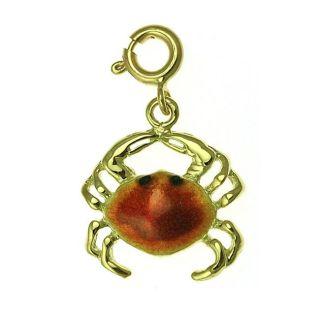 14k Yellow Gold Crab Charm