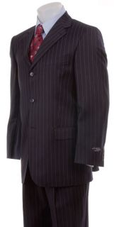 Zanetti Mens Navy Pinstripe Three button Suit