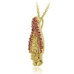 DB Designs 18k Two tone Gold over Silver Champagne Diamond Penguin