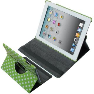 SKQUE Green with White Polka Dots 360 Rotating Leather Case for Apple