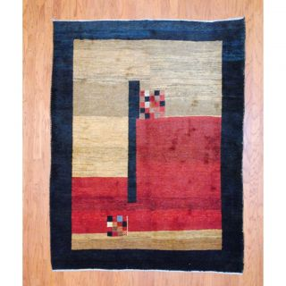 Persian Hand knotted Gabbeh Red/ Blue Wool Rug (510 x 77) Was $699