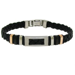 Moise Stainless Steel Mens Black Leather Cutout Bracelet