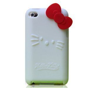 Hello Kitty White Silicone with Red Bow Cover Case for