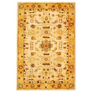 Handmade Tribal Ivory/ Gold Wool Rug (3 x 5)
