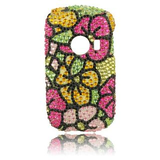 Luxmo Green Hawaiian Flower Rhinestone Protector Case for Huawei M835