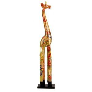 Multicolor Giraffe Statue Sculpture Hand painted 40Tall