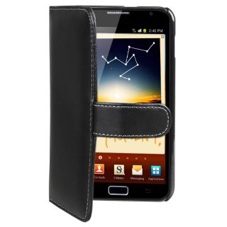 Black Leather Card Wallet Case for Samsung Galaxy Note N7000