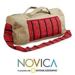 Jute and Cotton Maya Sunset Large Travel Bag (Guatemala)