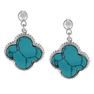 La Preciosa Sterling Silver Turquoise Clover Earrings
