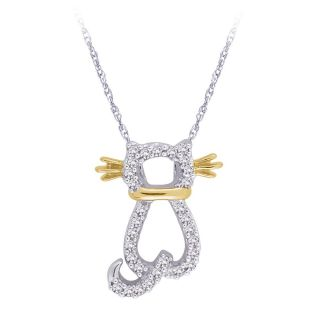 14k White and Yellow Gold 1/8ct TDW Cat Shaped Diamond Necklace (G H