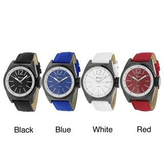 Geneva Platinum Womens Nylon and Faux Leather Strap Watch