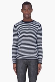 A.P.C. Black Striped Merino Wool Sweater for men