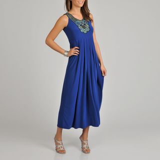 Lennie for Nina Leonard Womens Blue Beaded Dress