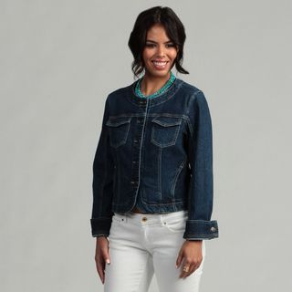 Live a Little Womens Sculpted Cropped Denim Jacket