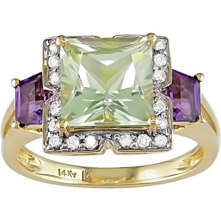 14k Gold Diamond and Multi color Amethyst Ring