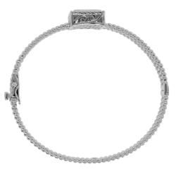 Sterling Silver 1/8ct TDW Diamond Square Bangle (H I, I3)