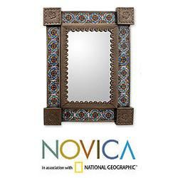Handcrafed in and Ceramic Colonial Garland Wall Mirror (Mexico