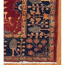 Afghan Hand knotted Oushak Red/ Navy Wool Rug (12 x 147)